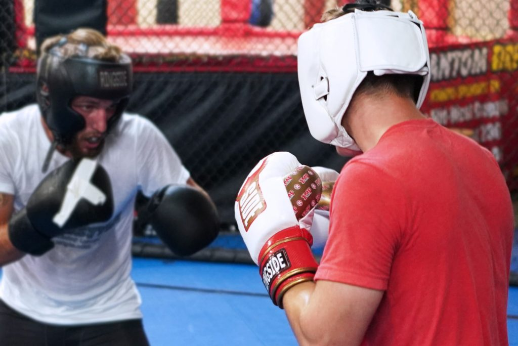 Two MMA Fighters Sparring